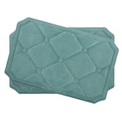 Gertie Small Premium Micro Plush Memory Foam Bath Mat Set Color: Marine Blue