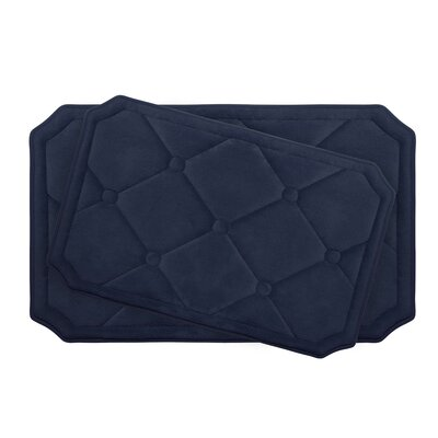 Gertie Large 2 Piece Premium Micro Plush Memory Foam Bath Mat Set Color: Indigo