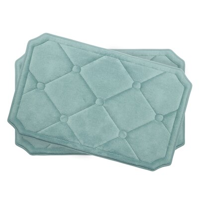 Gertie Small 2 Piece Premium Micro Plush Memory Foam Bath Mat Set Color: Aqua