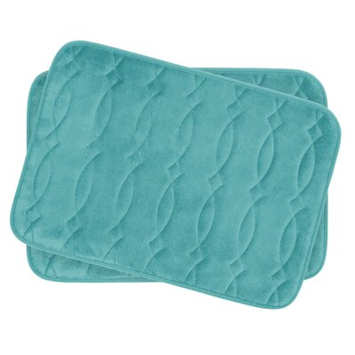 Grecian Small 2 Piece Plush Memory Foam Bath Mat Set Color: Turquoise