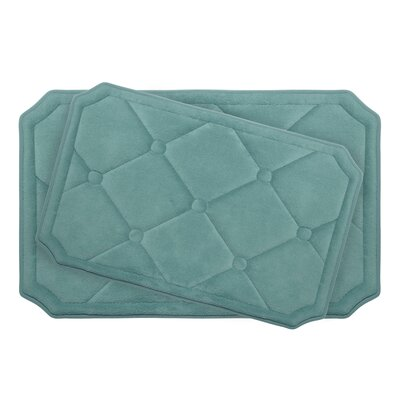 Gertie Large 2 Piece Premium Micro Plush Memory Foam Bath Mat Set Color: Marine Blue