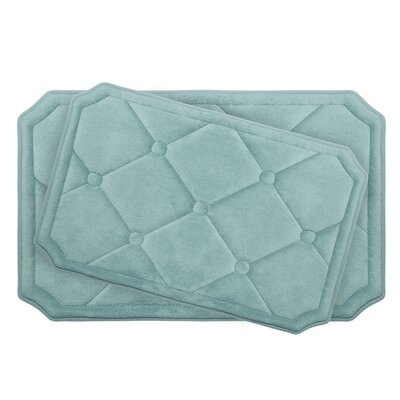 Gertie Large 2 Piece Premium Micro Plush Memory Foam Bath Mat Set Color: Aqua