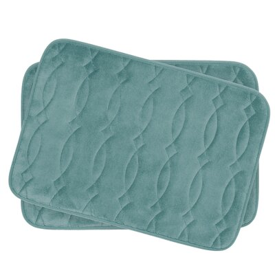 Grecian Small Plush Memory Foam Bath Mat Set Color: Marine Blue