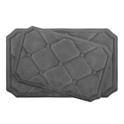 Gertie Large 2 Piece Premium Micro Plush Memory Foam Bath Mat Set Color: Dark Grey