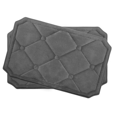 Gertie Small Premium Micro Plush Memory Foam Bath Mat Set Color: Dark Grey