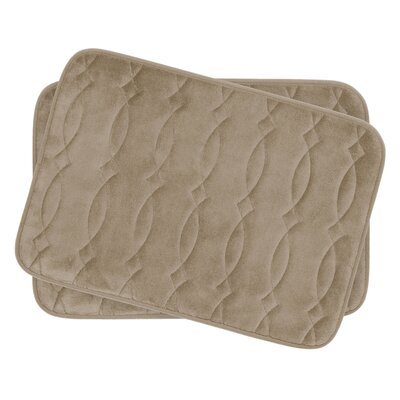 Grecian Small 2 Piece Plush Memory Foam Bath Mat Set Color: Linen