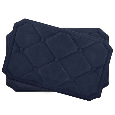 Gertie Small Premium Micro Plush Memory Foam Bath Mat Set Color: Indigo