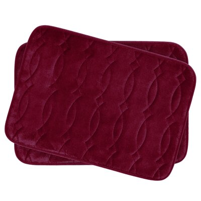 Grecian Small Plush Memory Foam Bath Mat Set Color: Barn Red