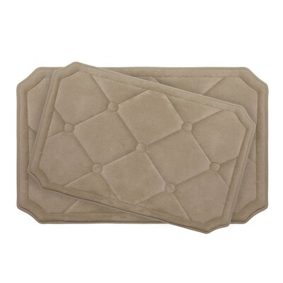 Gertie Large 2 Piece Premium Micro Plush Memory Foam Bath Mat Set Color: Linen