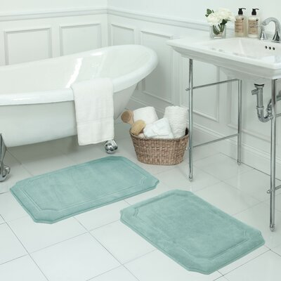 Walden Large Premium Micro Plush Memory Foam Bath Mat Set Color: Aqua