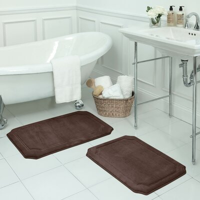 Walden Large 2 Piece Premium Micro Plush Memory Foam Bath Mat Set Color: Mocha