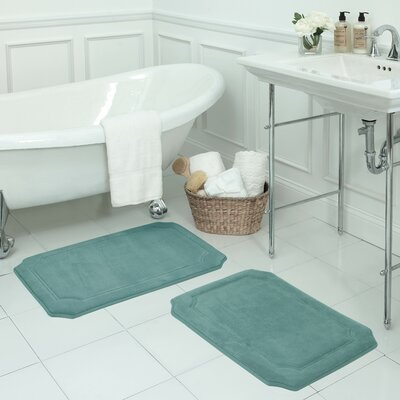 Walden Large Premium Micro Plush Memory Foam Bath Mat Set Color: Marine Blue