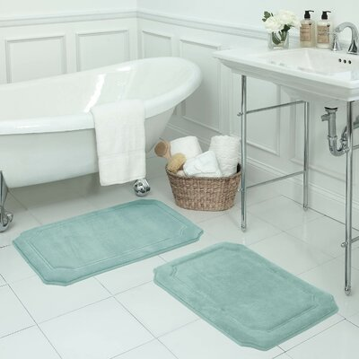 Walden Small Premium Micro Plush Memory Foam Bath Mat Set Color: Aqua