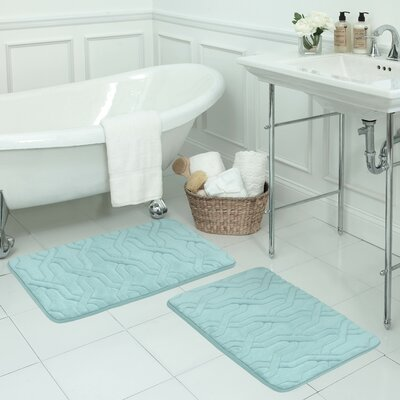Drona Large 2 Piece Premium Micro Plush Memory Foam Bath Mat Set Color: Aqua