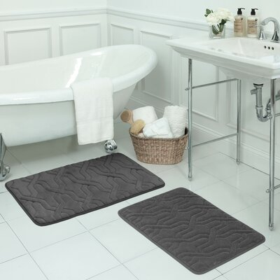 Drona Large 2 Piece Premium Micro Plush Memory Foam Bath Mat Set Color: Dark Grey