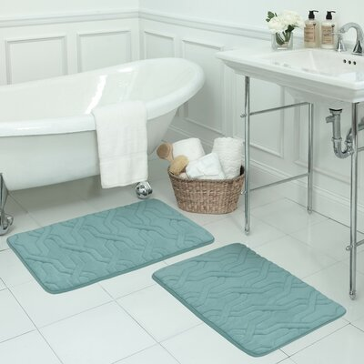 Drona Large 2 Piece Premium Micro Plush Memory Foam Bath Mat Set Color: Marine Blue