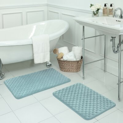 Massage Small 2 Piece Premium Micro Plush Memory Foam Bath Mat Set Color: Aqua