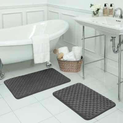 Massage Small Premium Micro Plush Memory Foam Bath Mat Set Color: Dark Grey