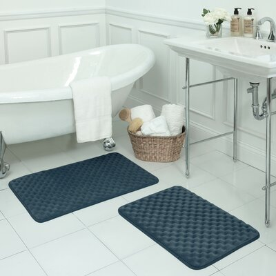 Massage Premium Micro Plush Memory Foam Bath Mat Set Color: Dusty Blue