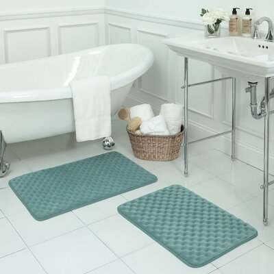 Massage 2 Piece Premium Micro Plush Memory Foam Bath Mat Set Color: Marine Blue