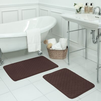 Massage Small 2 Piece Premium Micro Plush Memory Foam Bath Mat Set Color: Mocha