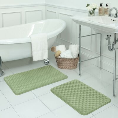 Massage Premium Micro Plush Memory Foam Bath Mat Set Color: Sage