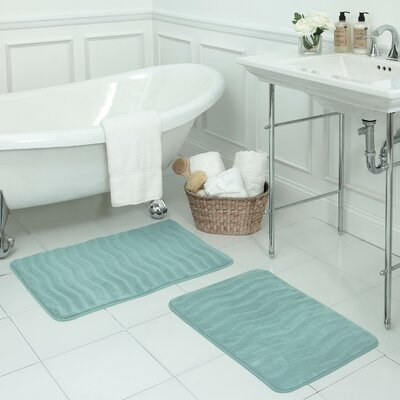 Waves Large Premium Micro Plush Memory Foam Bath Mat Set Color: Aqua