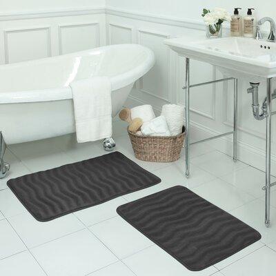 Waves Small 2 Piece Premium Micro Plush Memory Foam Bath Mat Set Color: Dark Grey