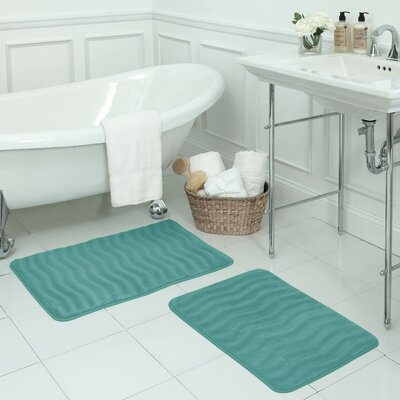 Waves Large 2 Piece Premium Micro Plush Memory Foam Bath Mat Set Color: Turquoise