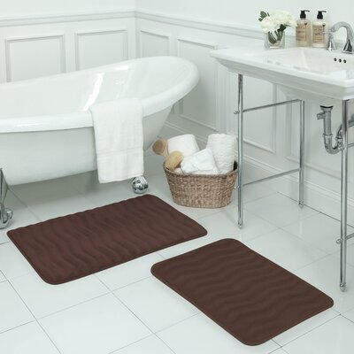 Waves Large 2 Piece Premium Micro Plush Memory Foam Bath Mat Set Color: Mocha