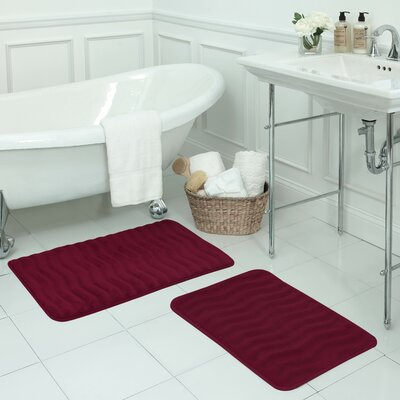 Waves Large 2 Piece Premium Micro Plush Memory Foam Bath Mat Set Color: Barn Red