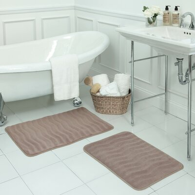 Waves Small 2 Piece Premium Micro Plush Memory Foam Bath Mat Set Color: Linen