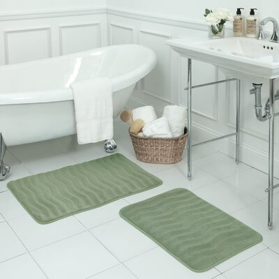 Waves Large 2 Piece Premium Micro Plush Memory Foam Bath Mat Set Color: Sage