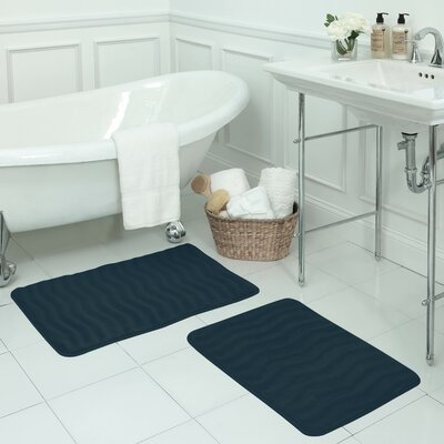 Waves Small Premium Micro Plush Memory Foam Bath Mat Set Color: Dusty Blue
