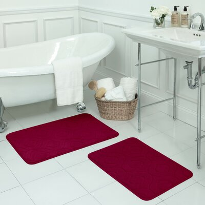 Naoli Large 2 Piece Micro Plush Memory Foam Bath Mat Set Color: Barn Red