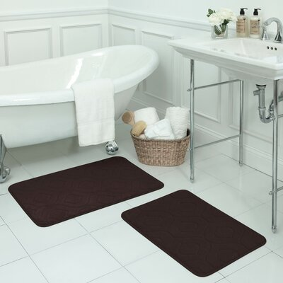Naoli Large 2 Piece Micro Plush Memory Foam Bath Mat Set Color: Espresso