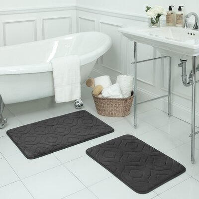 Naoli Large 2 Piece Micro Plush Memory Foam Bath Mat Set Color: Dark Grey