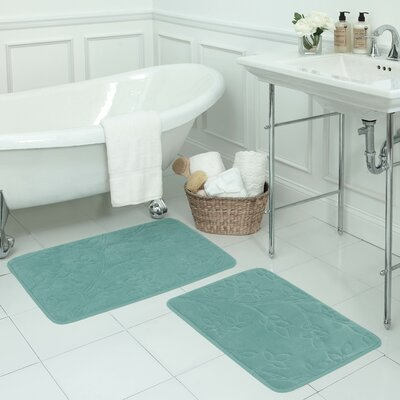 Spring Leaves 2 Piece Micro Plush Memory Foam Bath Mat Set Color: Marine Blue