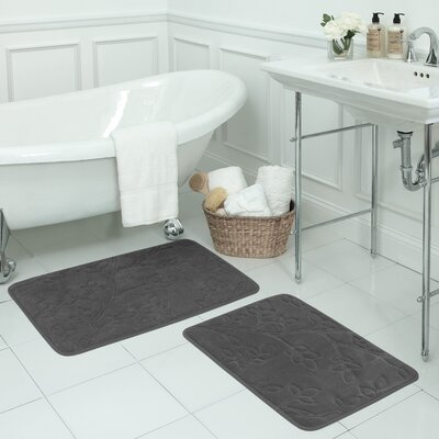 Spring Leaves 2 Piece Micro Plush Memory Foam Bath Mat Set Color: Dark Grey