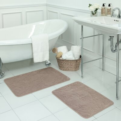 Spring Leaves Small 2 Piece Micro Plush Memory Foam Bath Mat Set Color: Linen