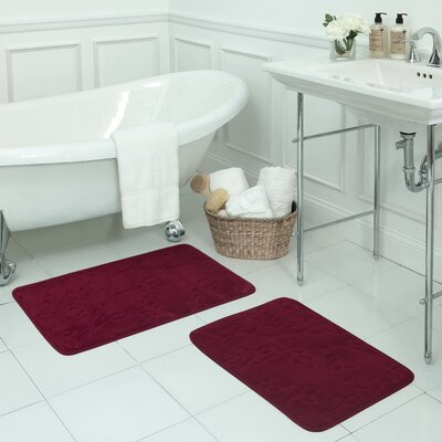 Spring Leaves Small 2 Piece Micro Plush Memory Foam Bath Mat Set Color: Barn Red