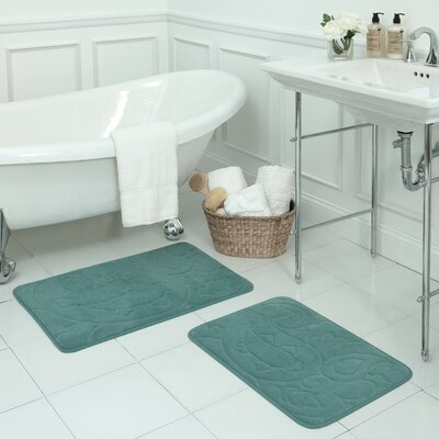 Pelton 2 Piece Micro Plush Memory Foam Bath Mat Set Color: Marine Blue