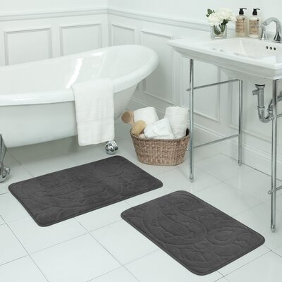 Pelton 2 Piece Micro Plush Memory Foam Bath Mat Set Color: Dark Grey