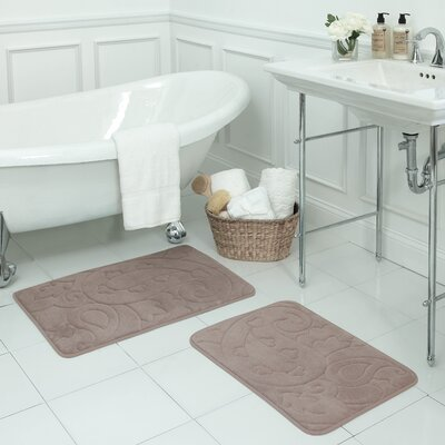 Pelton 2 Piece Micro Plush Memory Foam Bath Mat Set Color: Linen