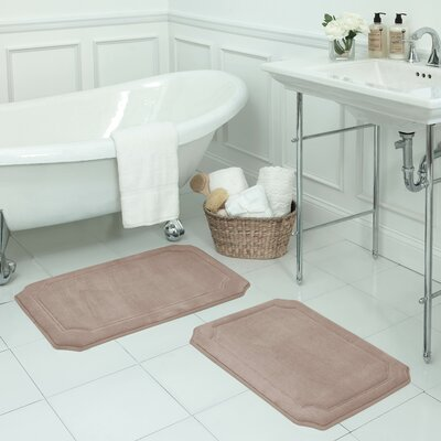 Walden Small 2 Piece Premium Micro Plush Memory Foam Bath Mat Set Color: Linen