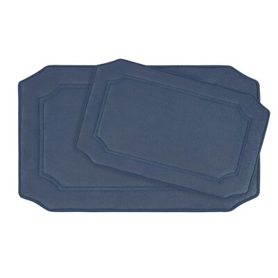 Walden Large Premium Micro Plush Memory Foam Bath Mat Set Color: Dusty Blue