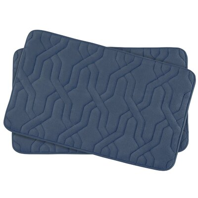 Drona Small Premium Micro Plush Memory Foam Bath Mat Set Color: Dusty Blue