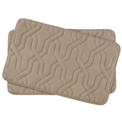 Drona Small Premium Micro Plush Memory Foam Bath Mat Set Color: Linen