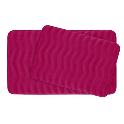 Waves Large Premium Micro Plush Memory Foam Bath Mat Set Color: Fuchsia