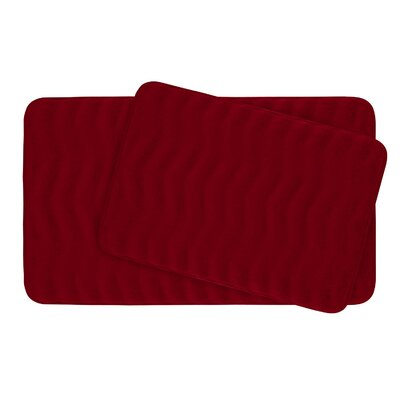 Waves Large 2 Piece Premium Micro Plush Memory Foam Bath Mat Set Color: Burgundy